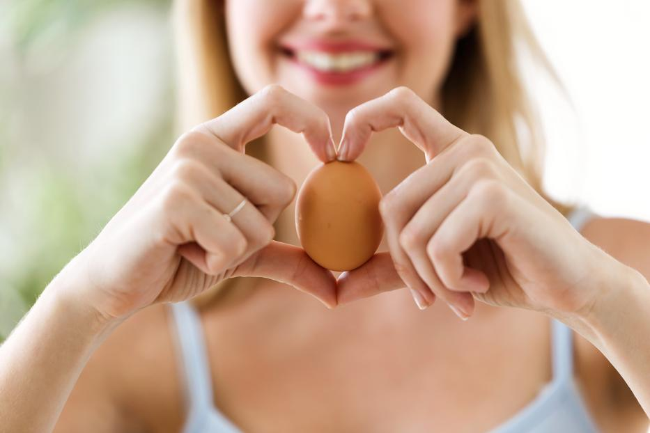 a tojás felálló állapotban lóg)